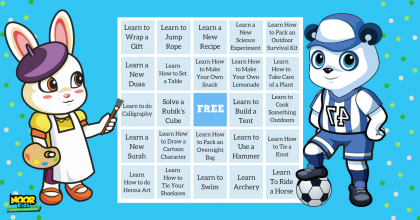 Increase your Muslim children in knowledge with this fun Noor Kids skills BINGO Islamic activity for 4, 5, 6, 7, and 8-year-olds